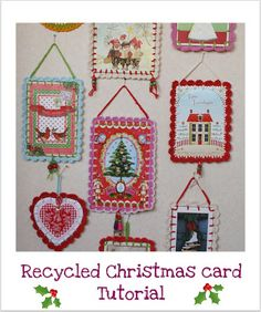 dutch sisters: Tutorial: Recycled Christmas-card with crochet sca...Crochet edging around Christmas cards