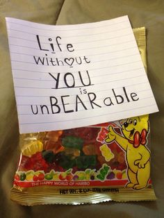 My boyfriend loves these gummy bears so i got him this :) love you bae