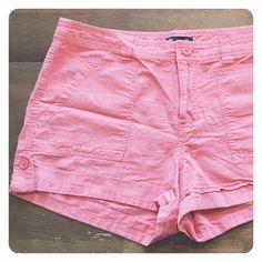 Gap shorts Gap shorts - 55 linen/ 45 cotton. Size 10. Worn a few times. Coral-ish/ pink-ish GAP Shorts