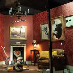 anonymous artist banksy has set up a showroom 'for display purposes only' in south london, housing a selection of his previous works. Banksy Paintings, Banksy Art, Graffiti, Bansky, What Is Installation Art, Art Installations, Greeting Card Companies, Greeting Cards, Gross Domestic Product