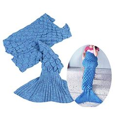 Kids' Quilt Sets - Sealands Mermaid Blanket Tail Adult Scales Knitted Cotton Adult Thin Soft Sleeping Bag Super Soft Fabric Snuggle Cozy Room and Sofa Blankets 7535 inch  blue ** Want additional info? Click on the image.