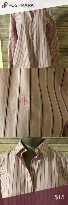 7b8f99ec3f3 LAUREN RALPH LAUREN WOMENS SZ LARGE PINK SHIRT Lauren Ralph Lauren women's  size large pink button