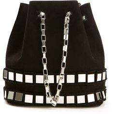 Tomasini 56 Squares Black Suede Bucket Bag (18,495 EGP) ❤ liked on Polyvore featuring bags, handbags, drawstring handbags, black chain handbag, drawstring purse, suede purse en metallic purse