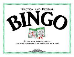 Bingo:  Fractions and Decimals