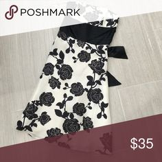 White House Black Market floral dress Floral black and white print dress. Great for holiday parties. White House Black Market Dresses Strapless