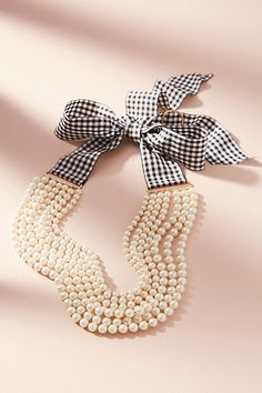 Slide View: 1: Gingham & Pearls Layered Necklace