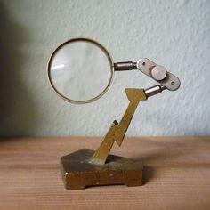 ANTIQUE/VINTAGE DESK TOP ADJUSTABLE BRASS MAGNIFIER/MAGNIFYING GLASS INDUSTRIAL | eBay