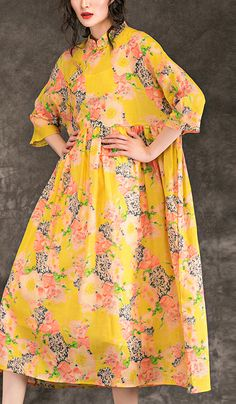 2502ed8a38 Natural yellow print linen outfit stylish Outfits stand collar patchwork  Maxi Summer Dresses