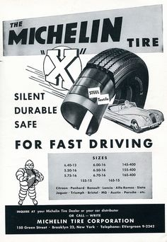 1956 Michelin Tire Advertisement Road & Track February 1956 | Flickr - Photo Sharing!