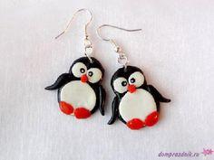 Подарок своими руками из полимерной глины: Серьги «Пингвины»