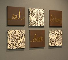 Brown and Cream Eat Drink & Be Merry Wall Art by GoldenPaisley