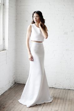 "<div>Minimalistic and modern, this sleek combination is perfect for any modern wedding.</div><div><br></div><div>More Dress Inspiration Inside <a href=""http://www.stylemepretty.com/vault/search/images/Wedding%20Dresses"">THE VAULT</a></div>"