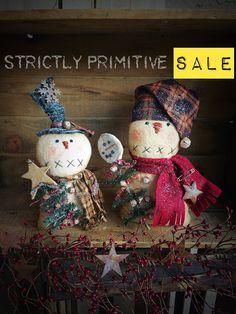 Adorable winter snowman friends!! Primitive snowman - primitive decor - primitive doll - christmass decor