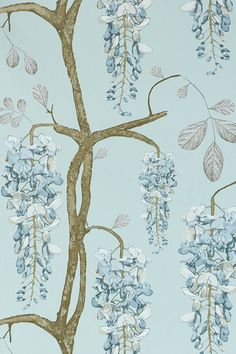 Image of Wallpaper - Wisteria - Turquoise