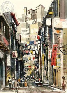 Hong Kong, 1962, California art by Jake Lee. HD giclee art prints for sale at CaliforniaWatercolor.com - original California paintings, & premium giclee prints for sale
