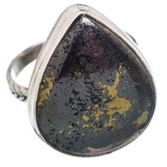 Pyrite In Magnetite (healer's Gold) 925 Sterling Silver Ring Size 8.75 RING673868