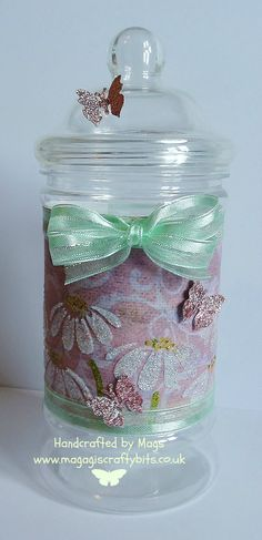 Recycled sweetie jar using stencil and sparkle medium