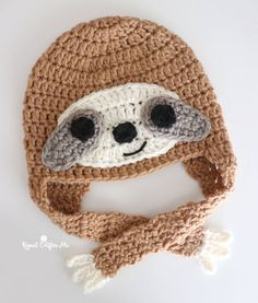 Crochet hats make great gifts and are fun to wear all year round! If you are looking for a trending design and a cute hat pattern, look no further! I designed this Crochet Sloth Hat in six different sizes so you can make one for all ages! You can find my pattern over at Yarnspirations!CLICK … Crochet Sloth, Crochet Cap, Crochet Beanie, Free Crochet, Baby Hat Patterns, Crochet Patterns, Scarf Patterns, Bernat Super Value Yarn, Silly Hats
