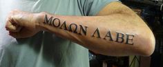 What does molon labe tattoo mean? We have molon labe tattoo ideas, designs, symbolism and we explain the meaning behind the tattoo. Pin Up Tattoos, Great Tattoos, Body Art Tattoos, New Tattoos, Sleeve Tattoos, I Tattoo, Tattoos For Guys, Tatoos, Army Tattoos