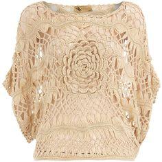 Beige crochet slit sleeve top ($49) ❤ liked on Polyvore