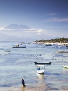 Jungutbatu Beach with Mount Agung in background, NUSA Lembongan, Bali, Indonesia, by Ian Trower