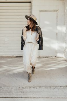 a boho look paired with leather for a touch of edgy romance...
