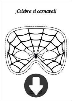 Máscara de Carnaval Spiderman para imprimir y colorear