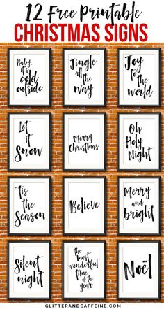 12 Free Printable Christmas Signs To Decorate Your Home For The . - 12 free printable Christmas signs to decorate your home for the holidays – glitter and caffeine 12 - Christmas Wall Art, Rustic Christmas, Christmas Projects, Christmas Holidays, Christmas Words, Christmas Signs Wood, Free Christmas Font, How To Decorate For Christmas, Christmas Sayings And Quotes