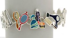 Hair Stylist Charm Bracelet Gift Multicolor Charms Scissor Comb Hair Dryer USA