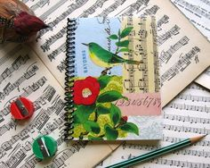 Bird and Red Flower  Spiral Notebook 4 x 6 by Ciaffi on Etsy, $10.00