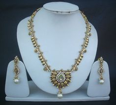 Indian American Polki Fashion Jewelry Set Royal Pearl Cz Necklace Earrings pn5 #Indian