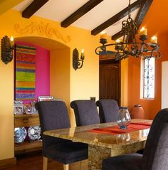 Southwestern Decorating Ideas: Stunning images of southwestern style rooms with tips on how to achieve this look by Interior Designer Tracy Svendsen. Mexican Interior Design, Contemporary Interior Design, Home Interior Design, Latin Decor, Mexican Home Decor, Southwestern Decorating, Duplex, New Wall, Arquitetura