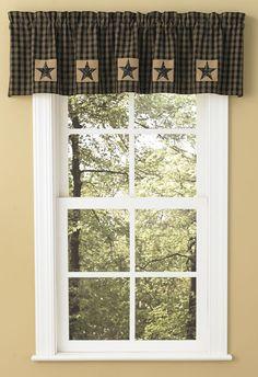 Primitive Country Black and Tan Plaid Sturbridge Patch Lined Valance, 60x14 #SimplyAbundant #Curtains