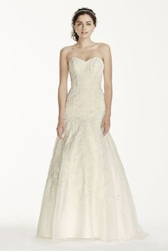 Extra Length Jewel Organza Trumpet Wedding Dress with Lace - White, 24W