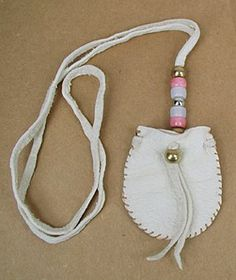 Pink Power Native American Indian Buckskin Medicine Bag