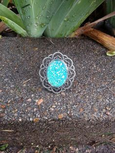 Druzy Antique Silver Ring Aqua Teal Druzy Boho Beach Gypsy Jewelry ~ Sale Expires Today... under $5 shipped