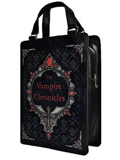 Restyle Vampire Chronicles Gothic Horror Book Black Large Shoulder Hand Bag