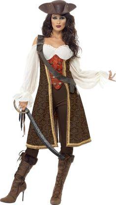Déguisement pirate marron femme : Ce déguisement pour femme se compose d'un haut, d'un pantalon et d'un baudrier (chapeau, perruque, collant, bottes et sabre non inclus).Le haut se compose de plusieurs...
