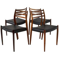 Set of Four Rosewood Model No 78 Niels Otto Møller Chairs | From a unique collection of antique and modern chairs at https://www.1stdibs.com/furniture/seating/chairs/