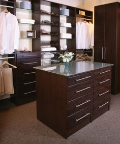 Love this - drawer in the middle of walk-in closet for extra space.