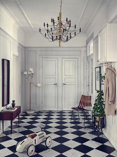 Foyer flooring inspiration - black & white checkered tile (Desire To Inspire) Stockholm Apartment, Apartment Interior, Home Interior, Interior And Exterior, Apartment Entrance, Interior Stylist, Style At Home, Foyer Flooring, Interior Design Books