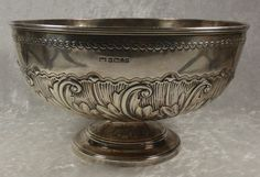 FABULOUS ANTIQUE ENGLISH STERLING SILVER PUNCH BOWL 19THc NR!