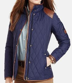 Love this classic blue and brown jacket