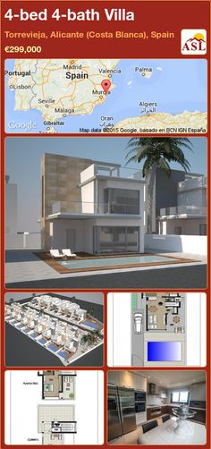 Villa for Sale in Torrevieja, Alicante (Costa Blanca), Spain with 4 bedrooms, 4 bathrooms - A Spanish Life Alicante, Portugal, Torrevieja, Villa With Private Pool, Open Plan Kitchen, Double Bedroom, Luxury Villa, Living Area, Costa