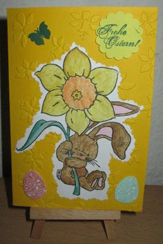 Osterkarte mit Stempelmotiv Painting, Crafts, Easter, Painting Art, Paintings, Paint, Draw
