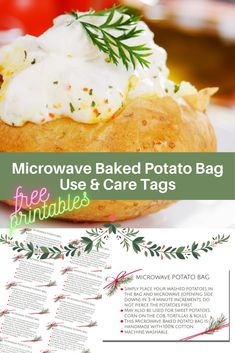 Microwave Baked Potato Bag Care and Use Tags - The Birch Cottage