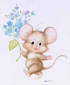 My Enchantments; For you!  Beautiful flowers and little mouse.