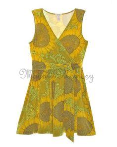 Sundance Catalog Dress sz 14 L Sundress Surplice Yellow Sunflowers V-Neck Brown