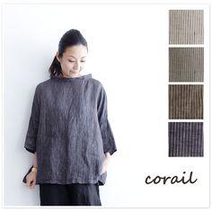【corail コライユ】先染め リネン ストライプ ブラウス(3113065)