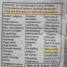 Marihuana, astral-projection, voodoo, levitation, and twilight films can all lead to demonic possession. Kung Fu, Satan, Freemasonry, Atheism, Postmodernism, Doorway, T 4, Halloween, Ganja